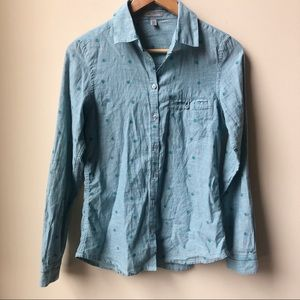 Horny Toad polka dot cotton button down shirt XS
